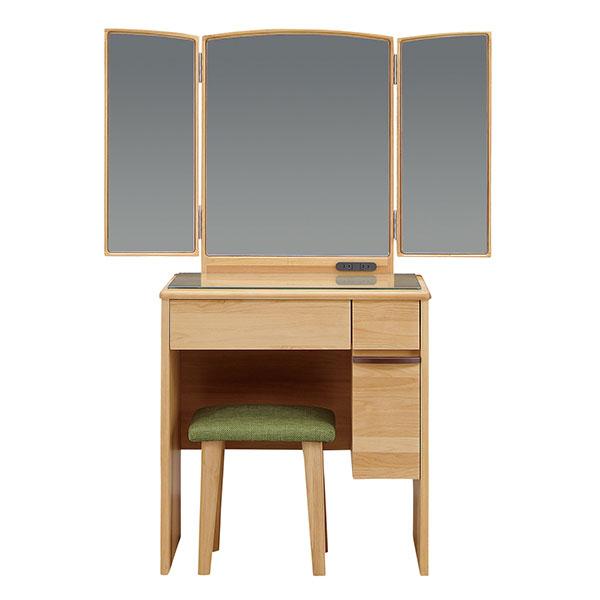 ドレッサーデスク 三面鏡 化粧台 幅65cm 椅子付き コンパクト メイク台 収納ボックス 引き出し 鏡台(代引不可)【送料無料】