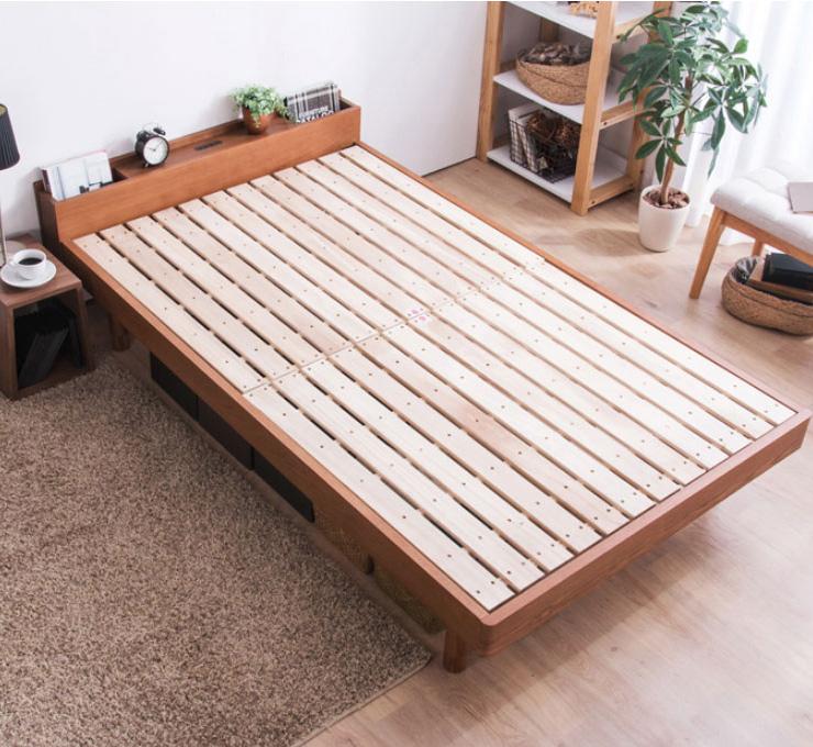 ベッド セミダブル フレーム 高さ調整 調節 木製 棚付きベッド CUBEキューブ フレームのみ セミダブル(代引不可)【送料無料】