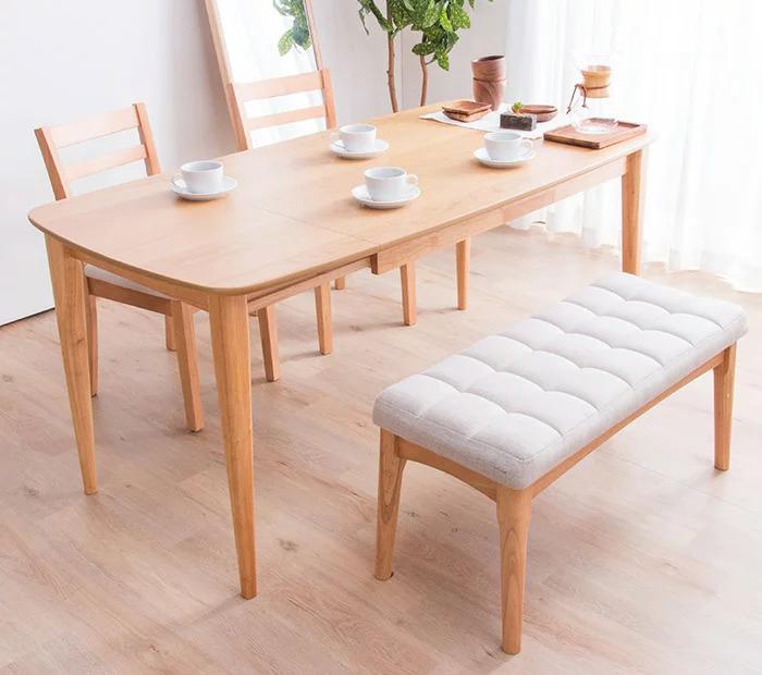 ダイニングテーブル 4点セット ダイニングセット 伸長式 伸縮 幅123-160cm+ダイニングチェア2脚+ベンチチェア 木製 木目(代引不可)【送料無料】