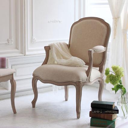 木製アームチェア 布張り1人掛 肘置き付 アンティークシャビーシックシシリー 椅子 チェアー スツール 1人用 クラシック 姫(代引不可)【送料無料】