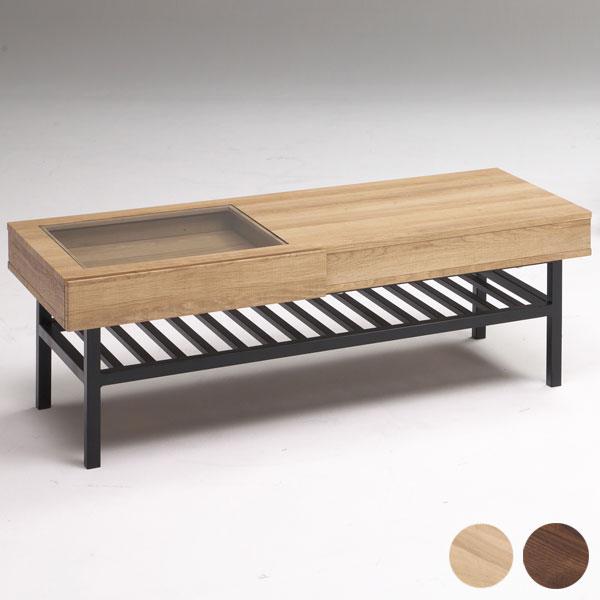 リビングテーブル 幅110cm 奥行47cm 高40cm コーヒーテーブル ローテーブル 完成品 アイアン(代引不可)【送料無料】