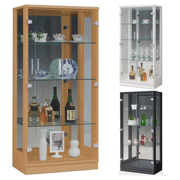 キュート60 コレクションケース幅60 高さ128 完成品 リビングボード コレクションボード 飾り棚 ガラス棚 ショーケース リビングボード
