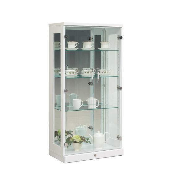 コレクションケース 幅64 高さ129 完成品 【ロータイプ】 リビングボード コレクションボード 飾り棚 ガラス棚(代引不可)【送料無料】