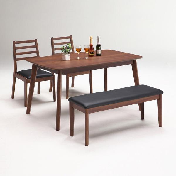 ダイニングテーブルセット 4点セット ダイニングテーブル 4人掛け ウォールナット突板 ラバーウッド無垢材 ダイニングセット(代引不可)【送料無料】