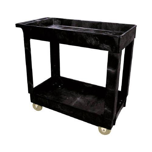高価値セリー 2シェルフユーティリティーカート ラバーメイド ブラック 9T6607(き):リコメン堂生活館-DIY・工具