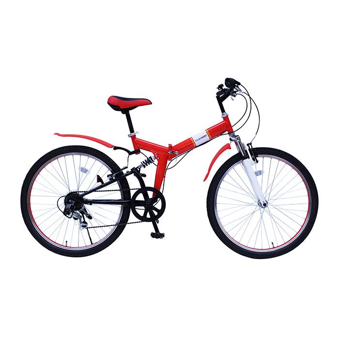 フィールドチャンプ 折りたたみ自転車 26インチ MG-FCP266E レッド(代引不可)【送料無料】