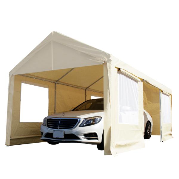 ドア付きテント3×6m C1020106 CANOPY スチール製 車庫テント カーポート 6×3m 大型 車 駐車 スチール製 頑丈 仮設倉庫(代引不可)【送料無料】