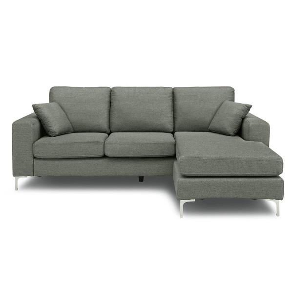 カウチソファ sofa 3人掛け ファブリック 開梱設置無料 ほぼ完成品 クッション2個付き おしゃれ 幅202cm ファブリック(代引不可)【送料無料】