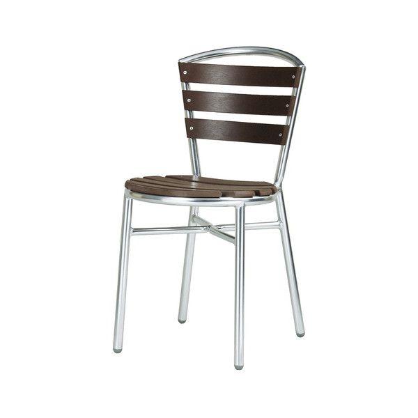 ガーデン チェア アルミ製 クーポス 肘無し 木目調 完成品 ガーデンファニチャー ガーデンチェア 椅子(代引不可)【送料無料】