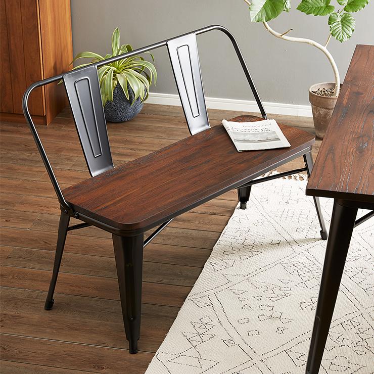 屋外使用可能 ヴィンテージ調 ダイニングベンチ 幅115cm ベンチ チェア チェアー 椅子 イス ダイニング 木製 無垢材【送料無料】