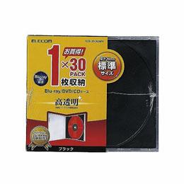 厚さ10.4mmの標準タイプ 人気激安 インデックスカードだけでなく背ラベルも収納できる標準タイプのBlu-ray DVD CDケース エレコム 安い 1枚収納 PS CCD-JSCN30BK Blu-ray 標準