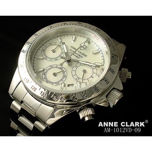 ANNE CLARK 天然1Pダイヤ入りクロノグラフレディースウォッチ AM1012VD-09【送料無料】