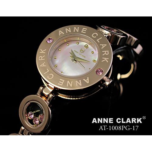 ANNE CLARK 天然1Pダイヤモンド ムービングカラーストン レディース ブレスウォッチ AT1008-17PG