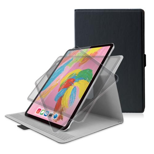 エレコム iPad Pro 11インチ 2018年モデル/フラップカバー/ソフトレザー/360度回転/スリープ対応/ブラック TB-A18MWVSMBK(代引不可)【送料無料】