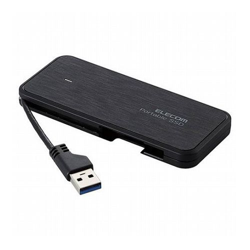 エレコム 外付けSSD ポータブル ケーブル収納対応 USB3.2(Gen1)対応 240GB ブラック データ復旧サービスLite付 ESD-EC0240GBKR(代引不可)【送料無料】