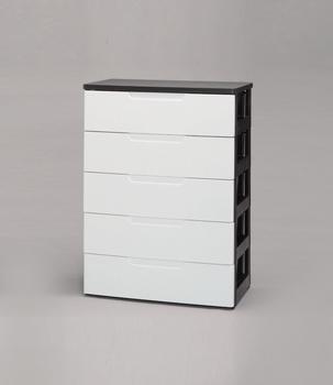 アイリスオーヤマ ウッドトップチェスト リビング・クローゼット収納 ホワイト/ブラック 5段 PG-725(代引き不可)