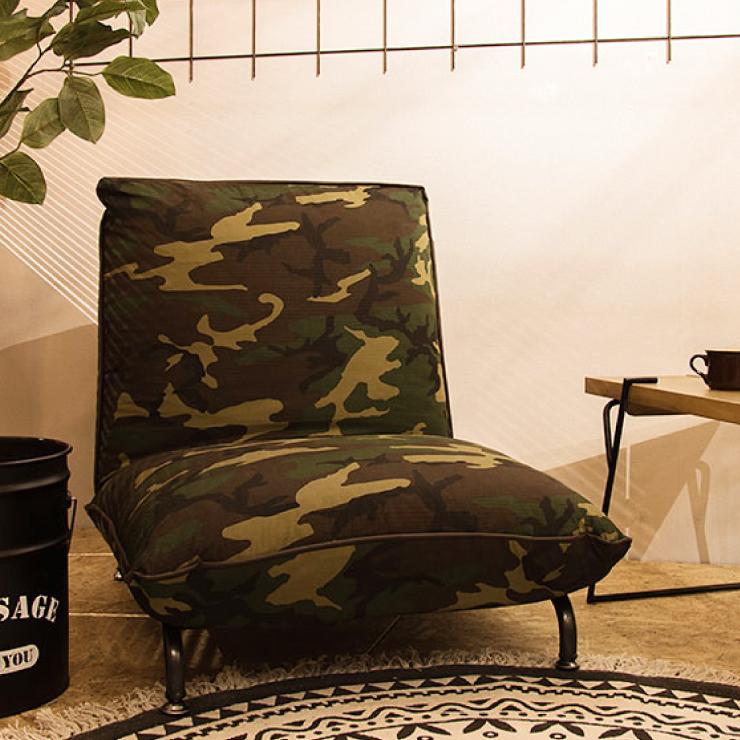 フロアローソファ コンパクト 1人掛け 2WAY ローソファ ヴィンテージ風 ソファー リクライニング おしゃれ 座椅子 カモ柄(代引不可)【送料無料】