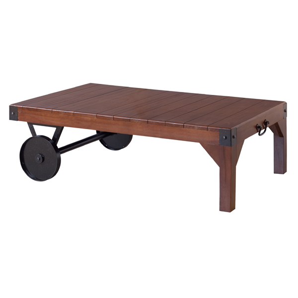 テーブル リビングテーブル センターテーブル 木製 おしゃれ 人気 車輪付き ローテーブル 古木風 カフェ アイアン 幅106(代引不可)【送料無料】