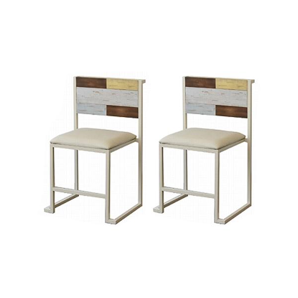 ダイニングチェア チェア2脚 天然木 北欧 木製 椅子 イス チェアー アイアン おしゃれ アンティーク 塗装 チェア2脚セット(代引不可)【送料無料】