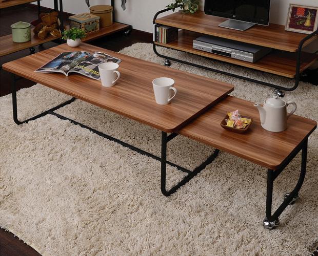 エクステンション テーブル リビングテーブル アイアン パイプ デザイン ブラウン ナチュラル おしゃれ(代引不可)【送料無料】【S1】