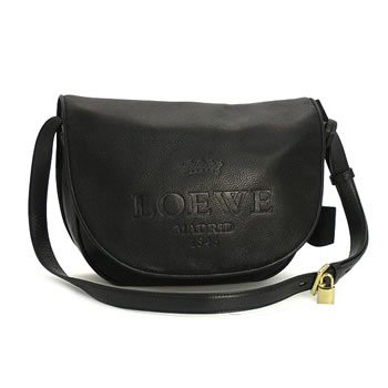 ロエベ LOEWE バッグ 斜めがけ HERITAGE LEATHER 376.79.752 LARGE HERITAGE SATCHEL BLACK BK【送料無料】