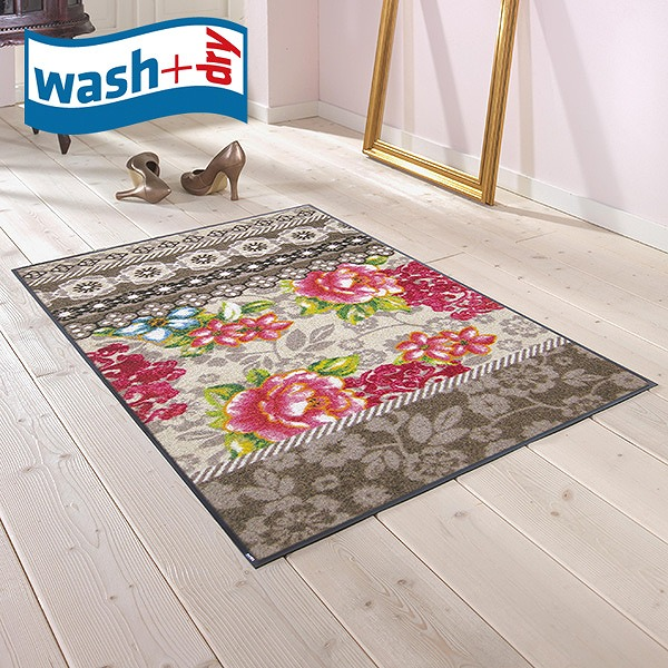 玄関マット wash+dry F006B Romance beige 75×120cm 柄物 おしゃれ 滑り止めラバーつき(代引不可)【送料無料】