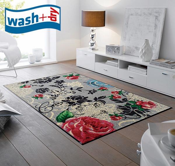 玄関マット wash+dry F009B Nordic Romance 75×120cm 柄物 おしゃれ 滑り止めラバーつき(代引不可)【送料無料】