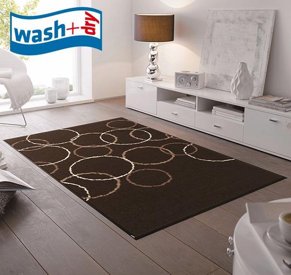 玄関マット wash+dry D012B Loopy Brown 75×120cm 柄物 おしゃれ 滑り止めラバーつき(代引不可)【送料無料】