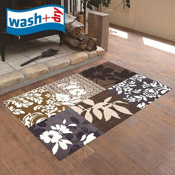 玄関マット wash+dry K002B Mystic Leaves 75×120cm 柄物 おしゃれ 滑り止めラバーつき(代引不可)【送料無料】
