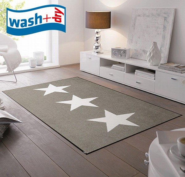 玄関マット wash+dry C021B Stars sand 75×120cm 柄物 おしゃれ 滑り止めラバーつき(代引不可)【送料無料】