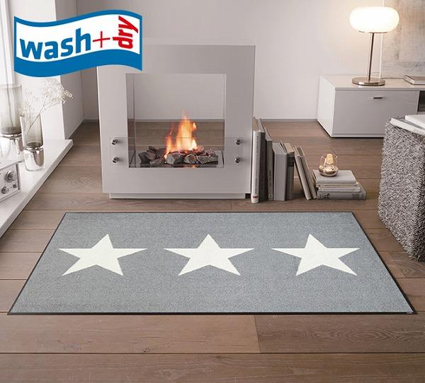 玄関マット wash+dry C022B Stars grey 75×120cm 柄物 おしゃれ 滑り止めラバーつき(代引不可)【送料無料】