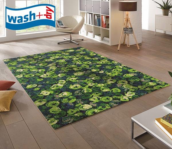 ラグマット wash+dry K015I Punilla green 110×175cm 柄物 おしゃれ 滑り止めラバーつき(代引不可)【送料無料】【S1】
