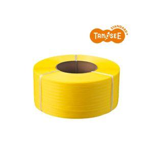 (まとめ)TANOSEE PPバンド 自動梱包機用 黄 15mm×2500m 4巻