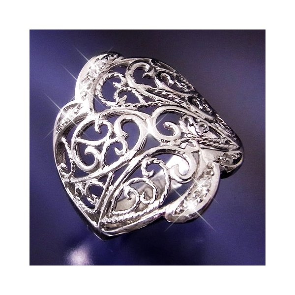 プラチナ100 透かし彫りダイヤモンドリング 9号