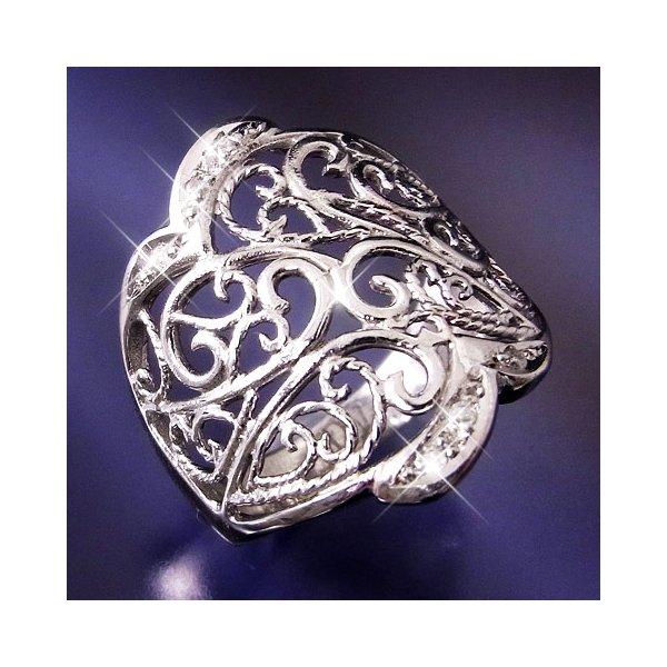 プラチナ100 透かし彫りダイヤモンドリング 17号