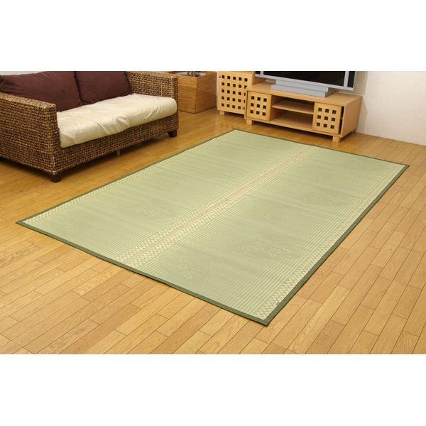 純国産 イ草花ござカーペット 『扇』 江戸間3畳(約174×261cm)