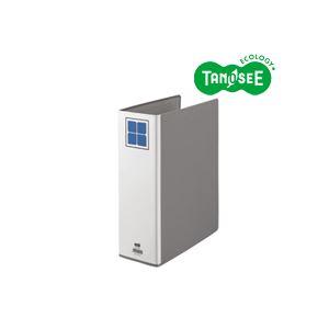 (まとめ)TANOSEE 片開きパイプ式ファイルE A4タテ 80mmとじ グレー 30冊