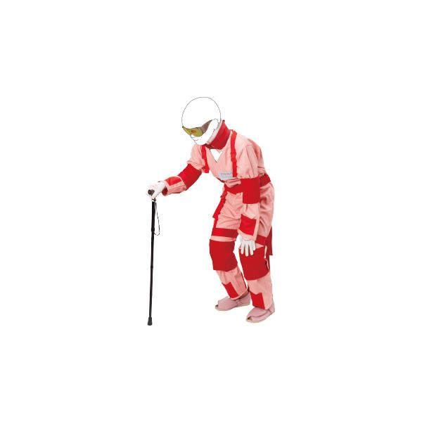 お年寄り体験スーツII 【Sサイズ/対象身長145cm~155cm】 ボディスーツタイプ 特殊ゴーグル/杖/各種おもり付き M-176-6【代引不可】