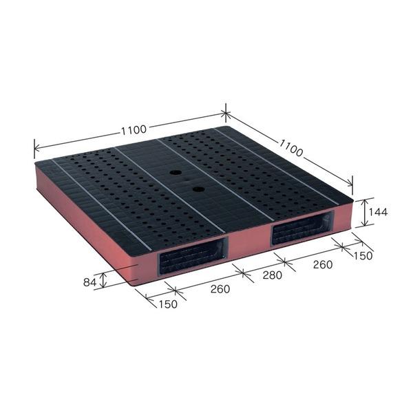 岐阜プラスチック工業 カラープラスチックパレット HB-R2・1111SC ブラック/ブラウン 両面使用 1100×1100mm 自動倉庫対応【代引不可】
