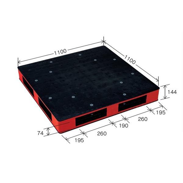 岐阜プラスチック工業 カラープラスチックパレット HB-R4・1111SC ブラック/レッド 両面使用 1100×1100mm【代引不可】