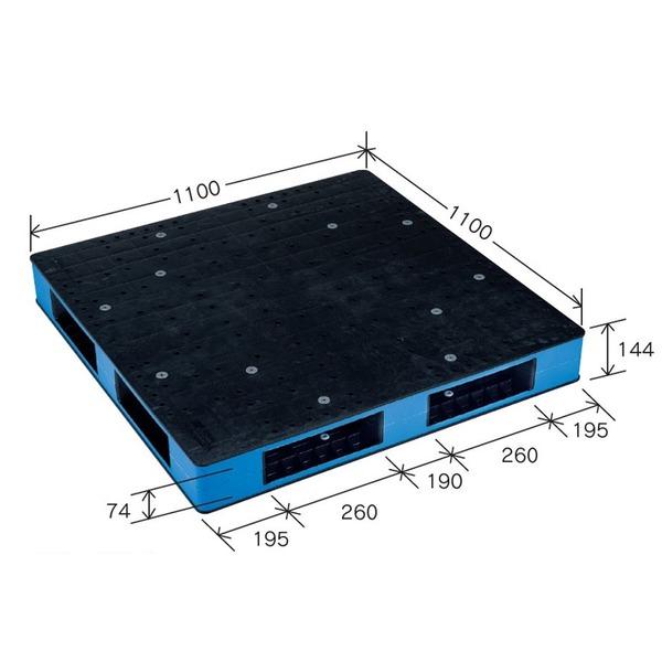 岐阜プラスチック工業 カラープラスチックパレット HB-R4・1111SC ブラック/ブルー 両面使用 1100×1100mm【代引不可】