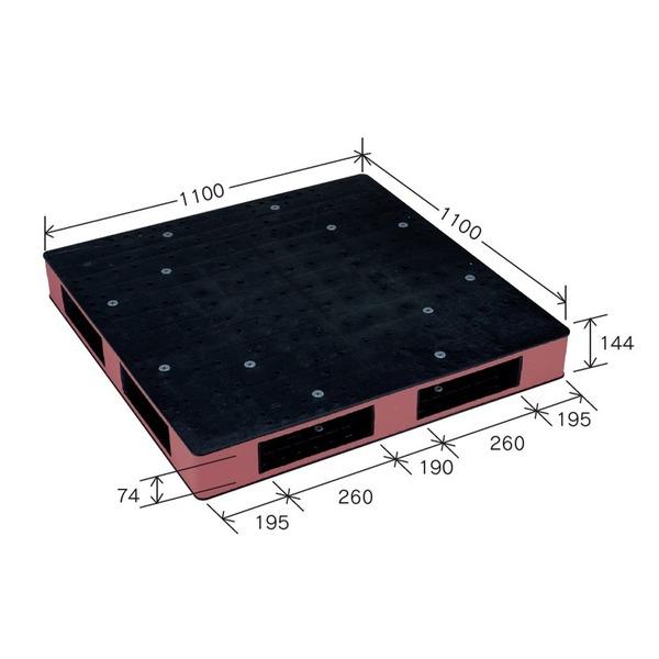 岐阜プラスチック工業 カラープラスチックパレット HB-R4・1111SC ブラック/ブラウン 両面使用 1100×1100mm【代引不可】