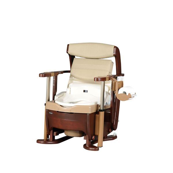 パナソニックエイジフリーライフテック 木製ポータブルトイレ 家具調トイレ〈座楽〉シャワポットひじ掛け昇降 PN-L21525