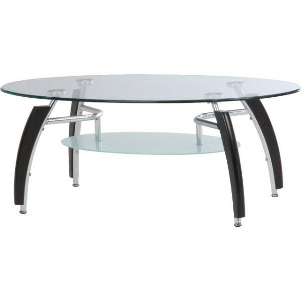 強化ガラス製センターテーブル 【アーク】 丸型 棚板収納付き BR ブラウン【代引不可】