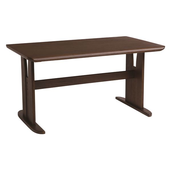 ダイニングテーブル/2本脚テーブル 【長方形 幅135cm】 木製 ブラッシング加工 『コバ』 ダークブラウン【送料無料】