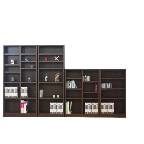 本棚/ブックシェルフ 【幅70cm】 高さ120cm 可動棚板2枚付き 木目調 日本製 ブラウン 【完成品】【代引不可】