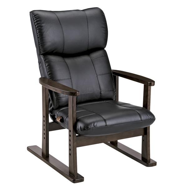 スーパーソフトレザー高座椅子/リクライニングチェア 【ブラック】 張地:合成皮革/合皮 肘付き ハイバック 日本製 『大河』【代引不可】【送料無料】