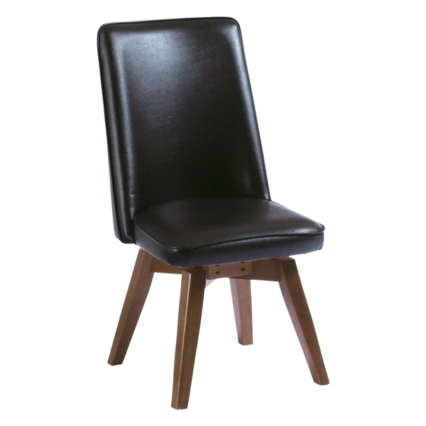 ダイニングチェア/回転式椅子 木製脚 張地:合成皮革/合皮 座面高43cm 『バター』ムール ブラウン