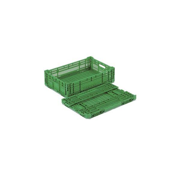 【10個セット】 折りたたみコンテナー/オリコン 【RS-MM29】 グリーン 材質:PP ワンタッチ組立コンテナ【代引不可】