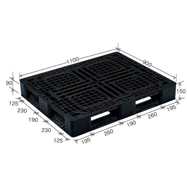 岐阜プラスチック工業 プラスチックパレット J-D4・1109 片面使用ブラック 1100×900mm【代引不可】